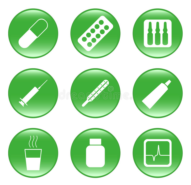 Free Drug-store - Vector Web Icons (buttons) Stock Image - 8024051