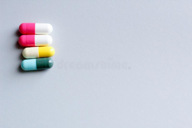Drug trials in the lab room. Drug in tables from lab test concept royalty free stock photo