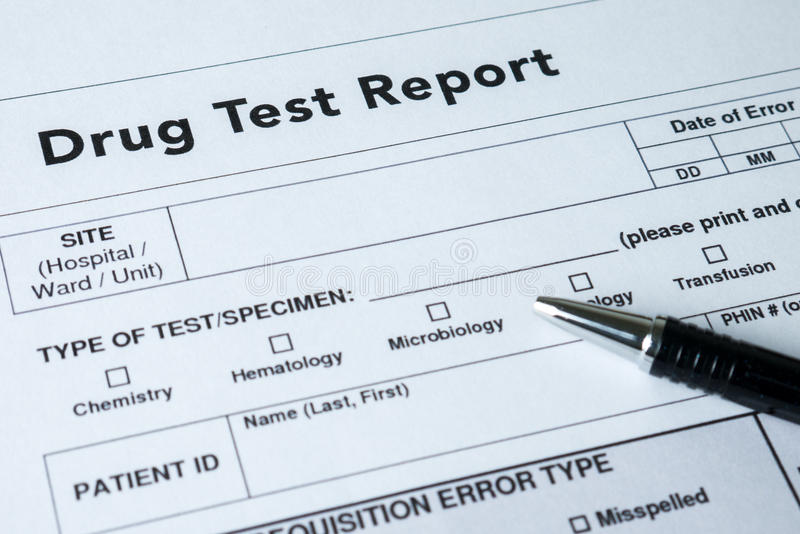 Drug test report. Form with black pen royalty free stock images