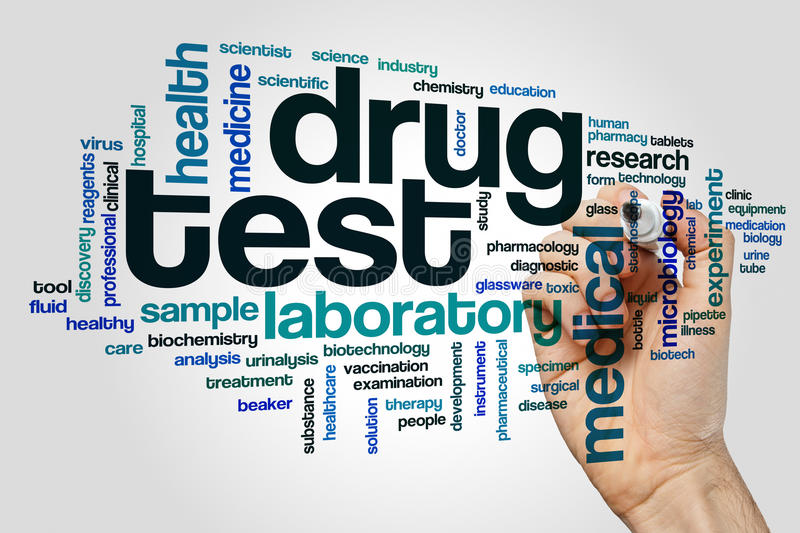 Drug test word cloud. Concept stock images