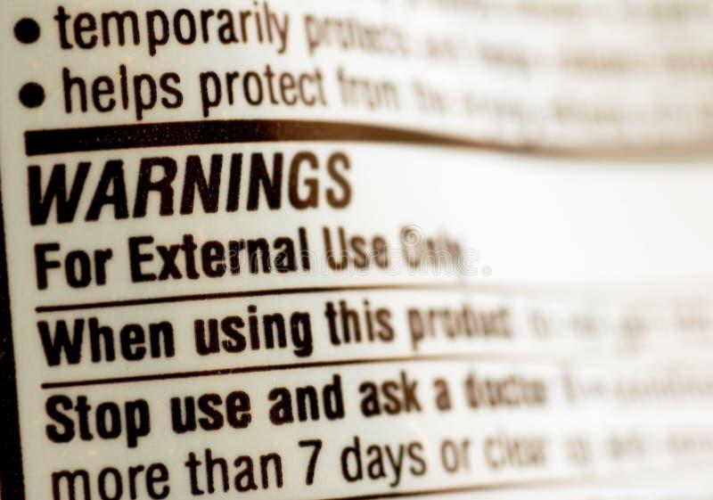 Drug warning label stock photography
