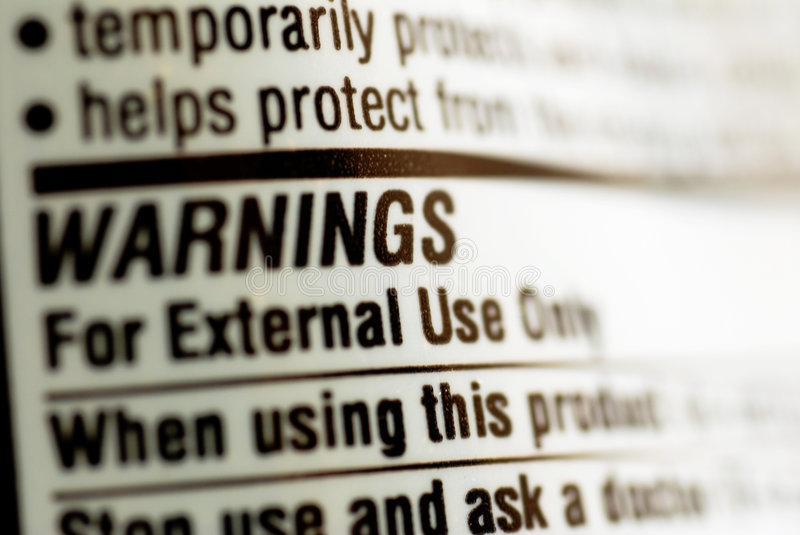 Drug warning label stock images