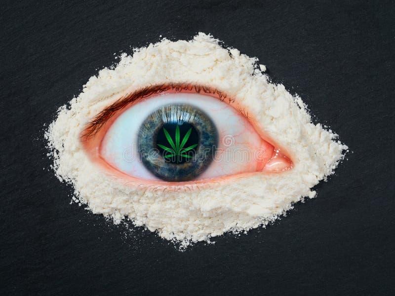 Druggebruik het concept, het overdosis menselijke oog met een blad van marihuana in de leerling en de heroïne poederen zich rond stock afbeeldingen