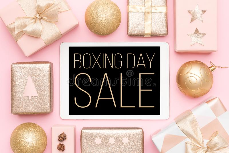 Drugi Dzień Świąt Bożego Narodzenia sprzedaży tło Online zakupy, Bożenarodzeniowa sprzedaż zdjęcie royalty free