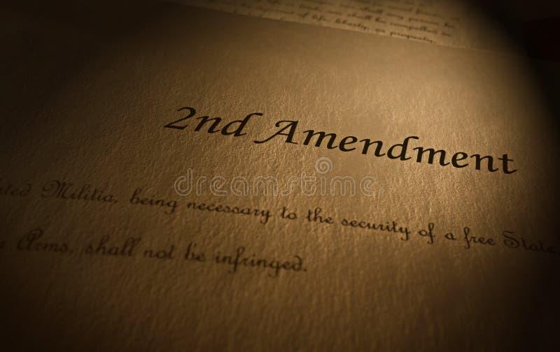 Drugi poprawka tekst fotografia stock