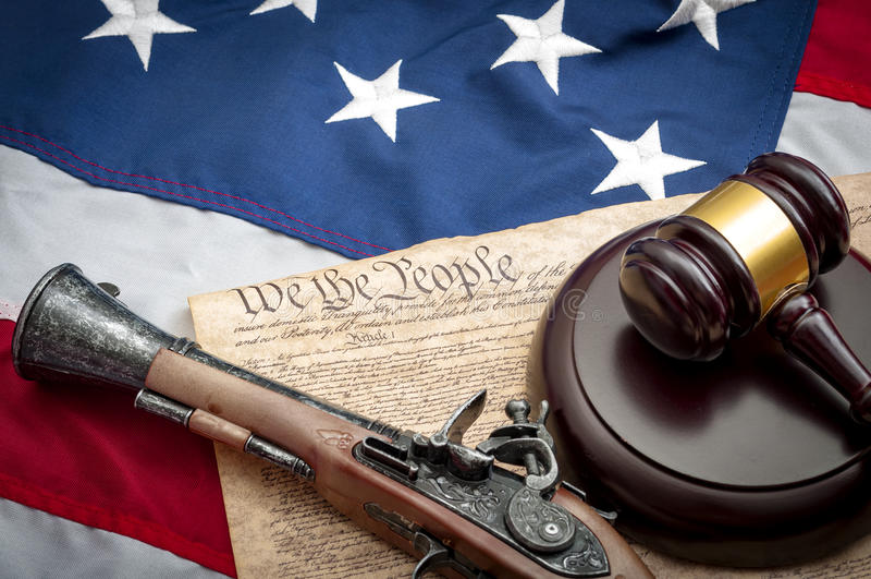 Drugi poprawka w Amerykańskim systemu sprawiedliwości sądowy obraz stock