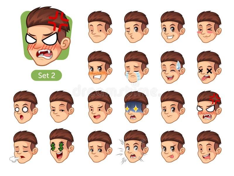 Drugi set męskie twarzowe emocje z czerwonym włosy royalty ilustracja
