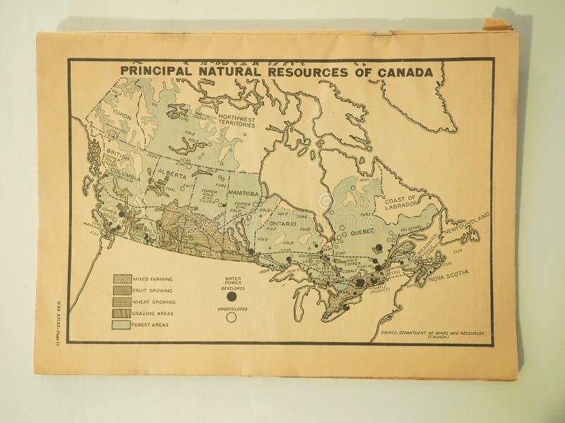 Drugiej Wojny Światowej mapa Główni surowce naturalni Kanada obraz stock