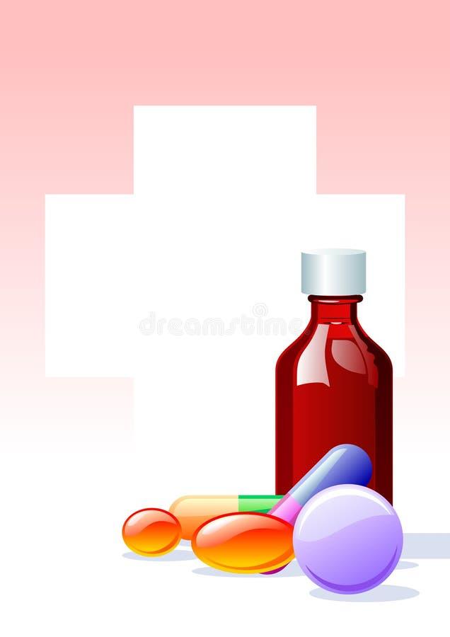 Drugs & flesje stock illustratie