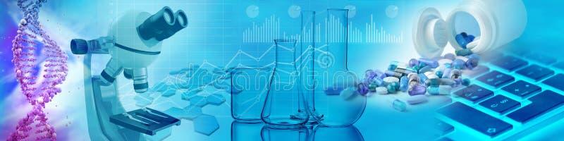 Drugs, chemische glazen, microscoop en DNA vector illustratie