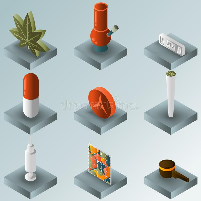 Drugs color gradient isometric icons royalty free illustration