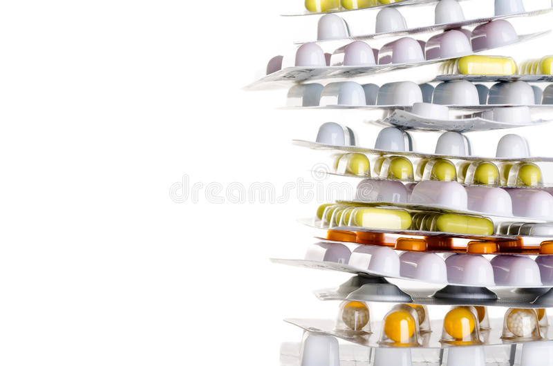 Drugs with copy space. A pile of drugs before white background with copy space royalty free stock photos
