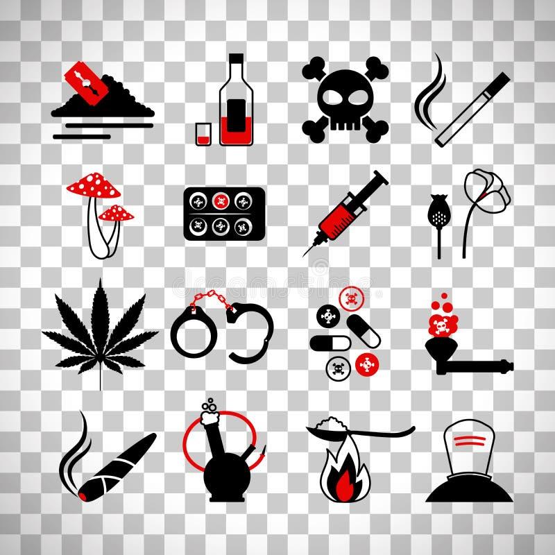 Drugs en de pictogrammen van de alcoholverslaving royalty-vrije illustratie