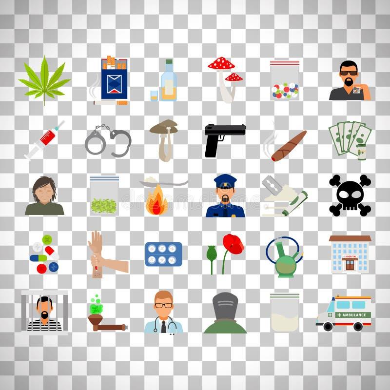 Drugs en verslavings vlakke pictogrammen vector illustratie