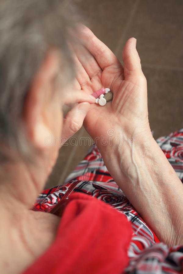 Free Drugs In Old Woman S Hands Stock Images - 25919234
