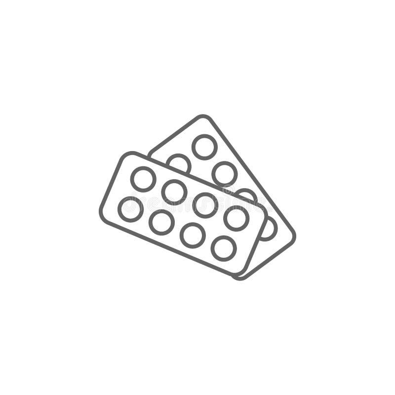 Drugs, pilictogram Pictogram van het geneesmiddel Thin line pictogram royalty-vrije illustratie