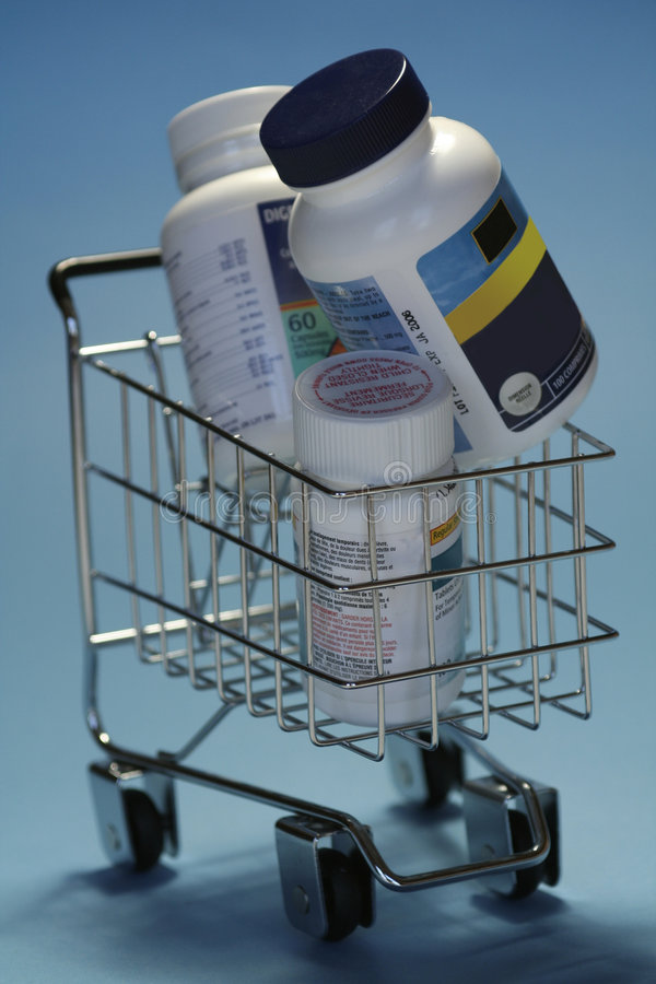 Drugs in shoppingcart royalty free stock image