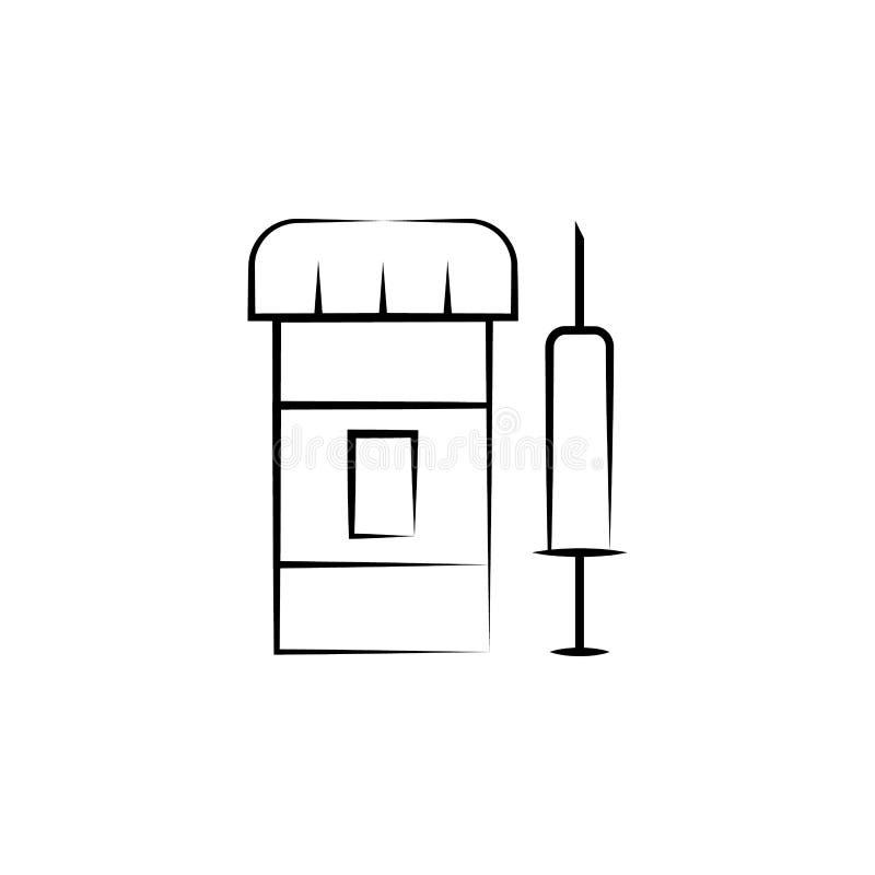 Drugs, Spuit, alternatief geneeskundepictogram Element van alternatief geneeskundepictogram voor mobiele concept en webtoepassing vector illustratie