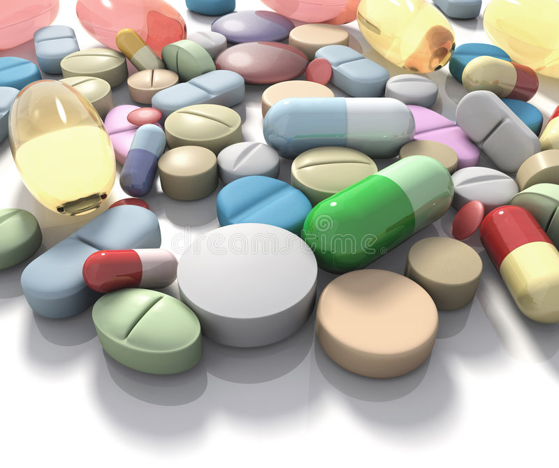Drugs / Supplement. Spilled pills of drug or alimentary supplement. Concept of Health and Disease royalty free illustration