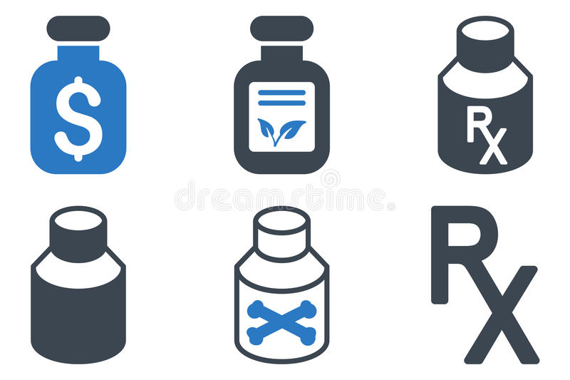 Drugs Vial Flat Vector Icons royalty-vrije illustratie