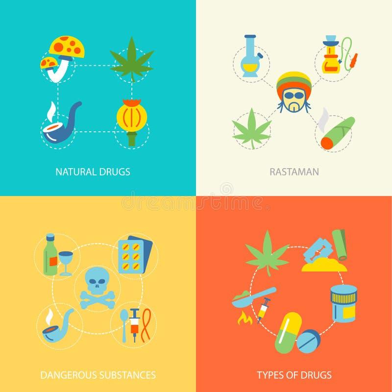 Drugs vlakke reeks vector illustratie