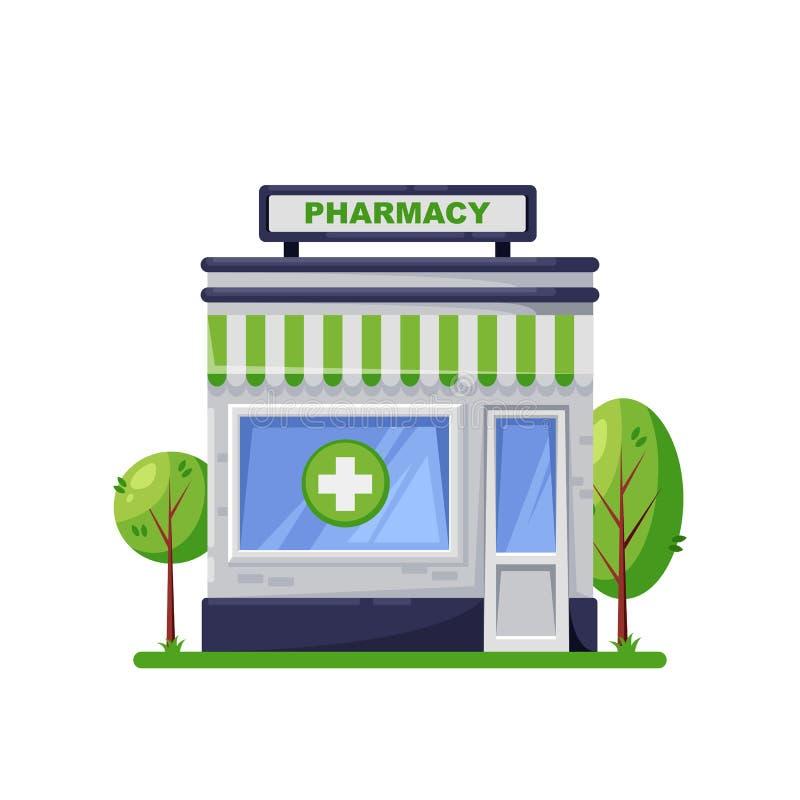 Drugstoregebäude, lokalisiert auf weißem Hintergrund Grünes Apothekenspeicheräußeres, Karikaturart-Ikonendesign stock abbildung