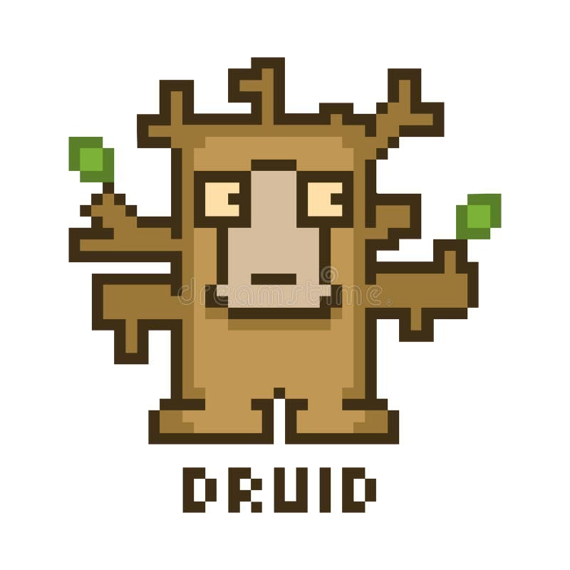 Druid εικονοκυττάρου για τα οκτάμπιτα τηλεοπτικά παιχνίδια απεικόνιση αποθεμάτων
