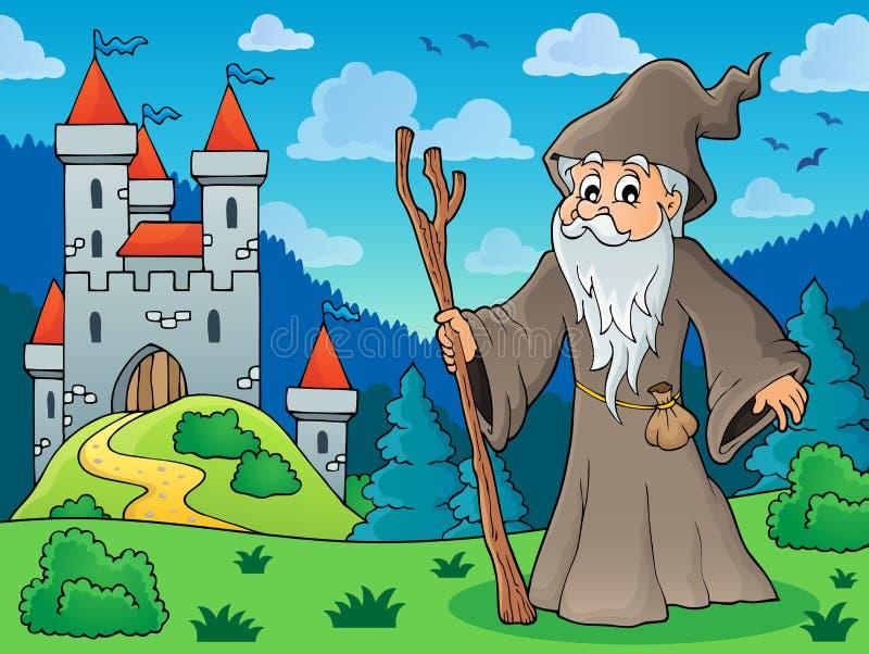 Druid στο λιβάδι κοντά στο κάστρο ελεύθερη απεικόνιση δικαιώματος