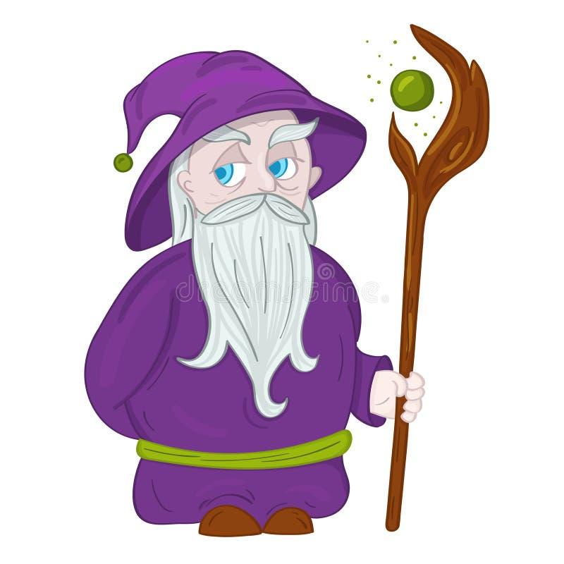 Druid χαρακτήρας με το καπέλο και προσωπικό διανυσματική απεικόνιση