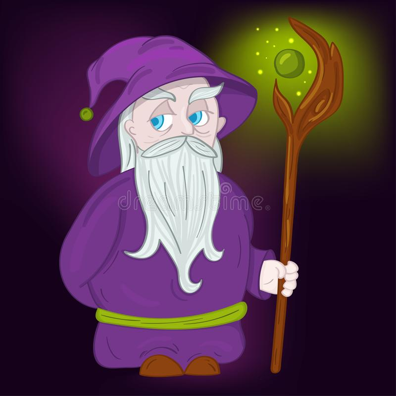 Druid χαρακτήρας με το καπέλο και προσωπικό ελεύθερη απεικόνιση δικαιώματος