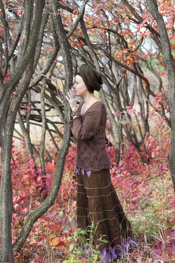 Druida de la mujer joven que habla con un árbol imagen de archivo