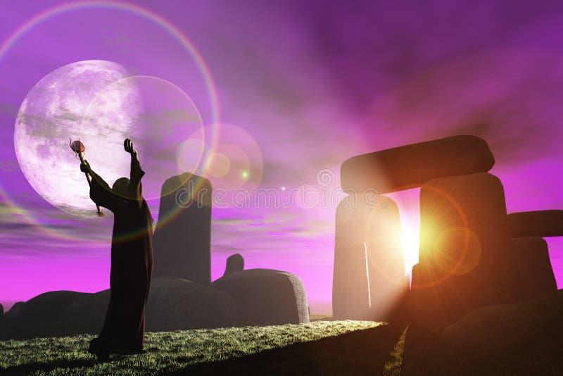 Druide grüßt die Dämmerung bei Stonehenge stock abbildung