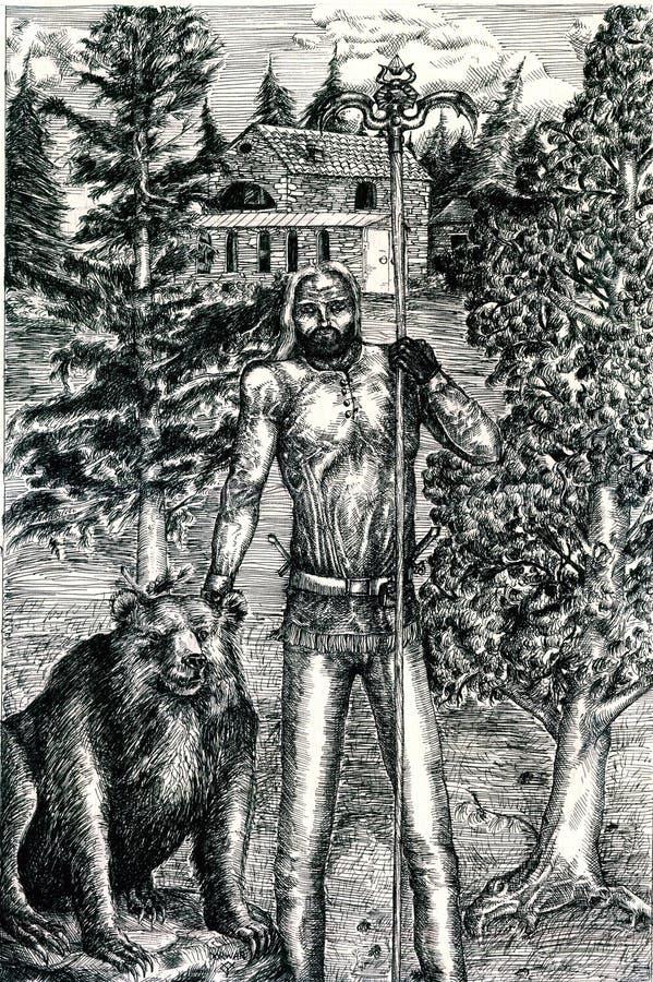 Druide mit Bären im Holz lizenzfreie abbildung