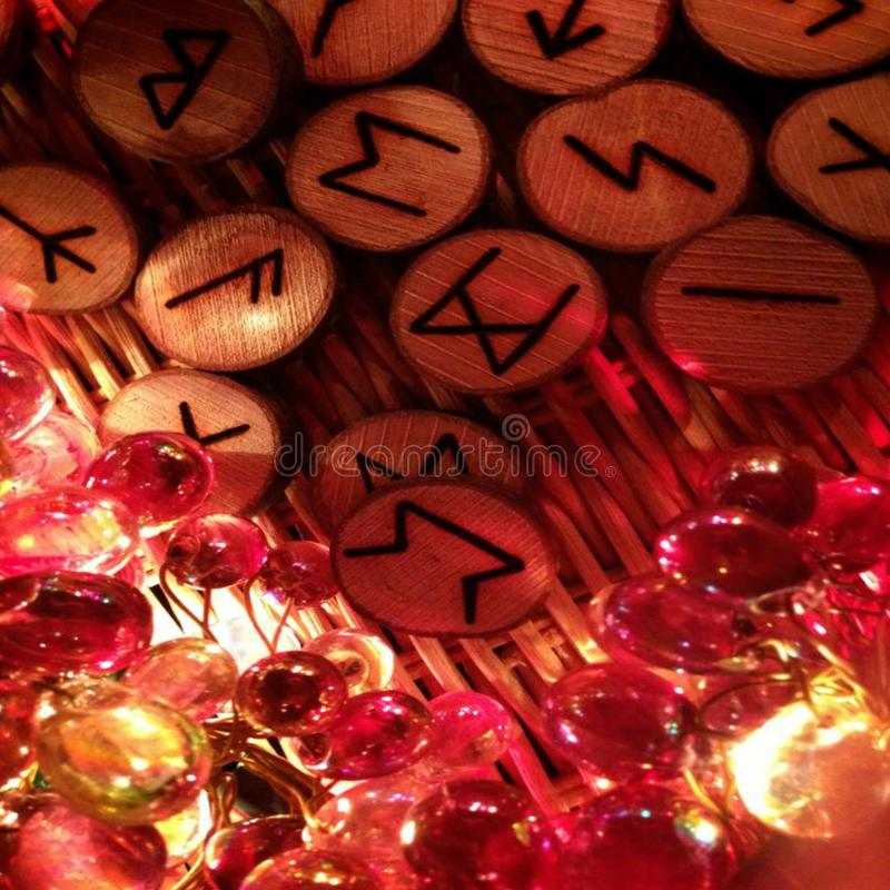 Oracle Runecasting Druidic Divinatory Norse Ancient Mythology Wooden Symbols Germanic Alphabet royalty free stock photos