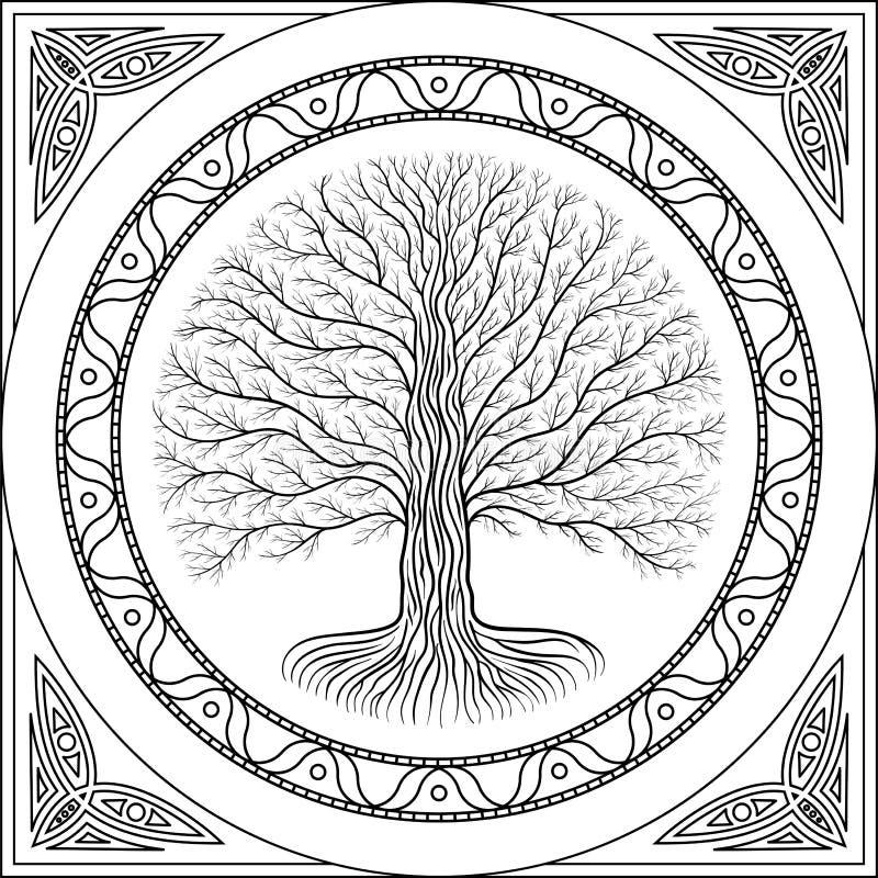 Druidic Yggdrasil contour tree, round black and white gothic logo. ancient book style. stock illustration