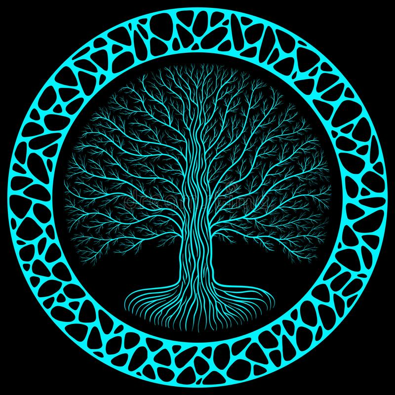 Druidic Yggdrasil tree at night, round silhouette, black and blue logo. Gothic ancient book style, organic or stone wall stock illustration