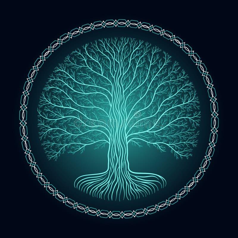 Druidic Yggdrasil tree, round dark gothic logo. ancient book style vector illustration