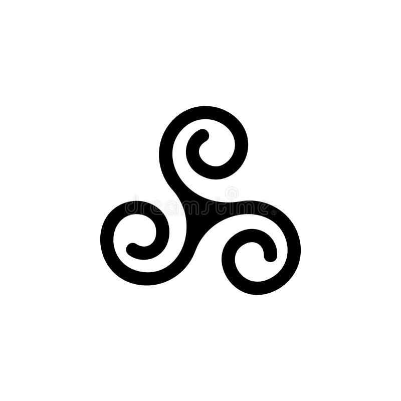 Druidyzm trójki spirali znaka ikona Element religia znaka ikona dla mobilnych pojęcia i sieci apps Szczegółowa druidyzm trójki sp royalty ilustracja
