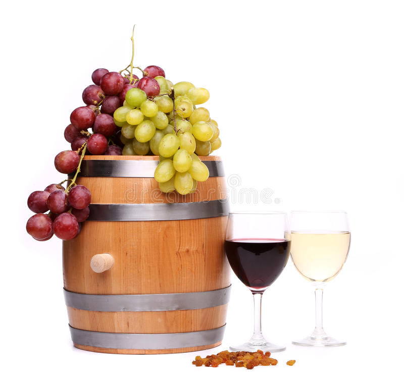 Druif op het vat, glazen wijn, rozijnen royalty-vrije stock foto's
