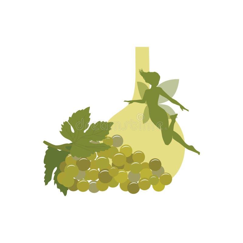 Druif, wijn en groene fee vector illustratie