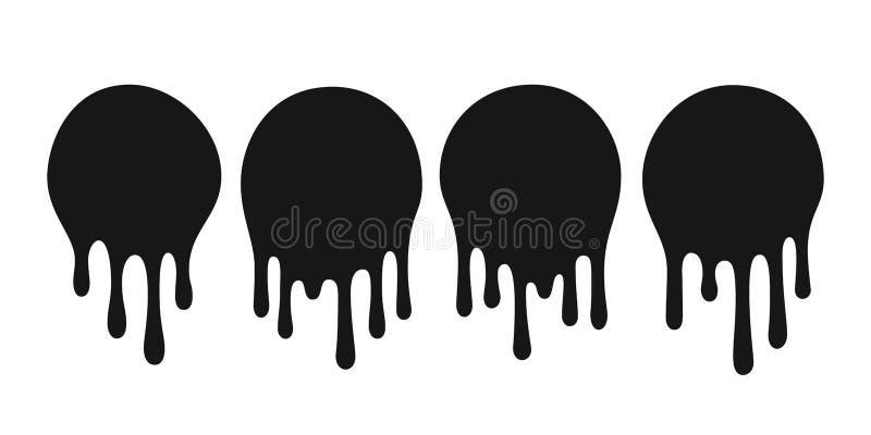 Druipende olievlek De verf of de sausvlekdruppels van de druppeldaling Zwarte het druipen sausen om vlekken vectorreeks royalty-vrije illustratie