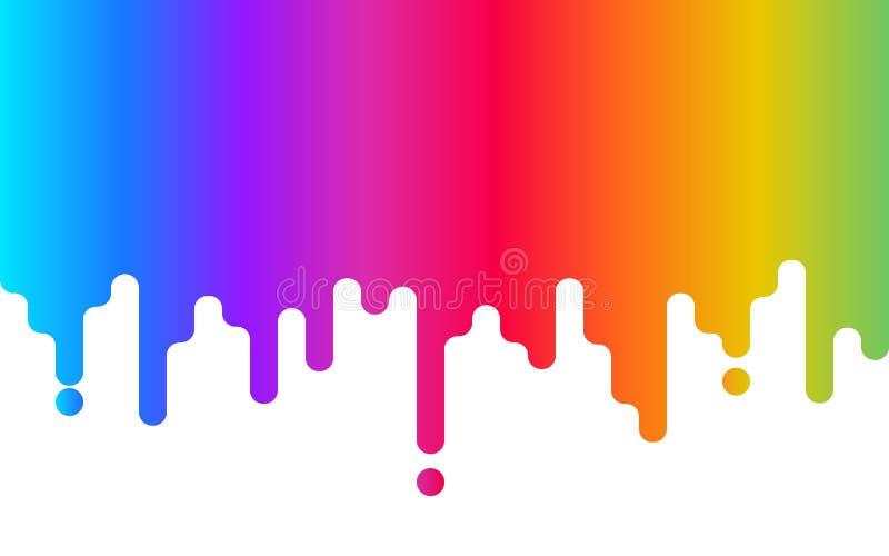 Druipende Verf De achtergrond van de regenboog Abstracte kleurrijke achtergrond op wit Kleurenontwerp voor website, adreskaartje  royalty-vrije illustratie