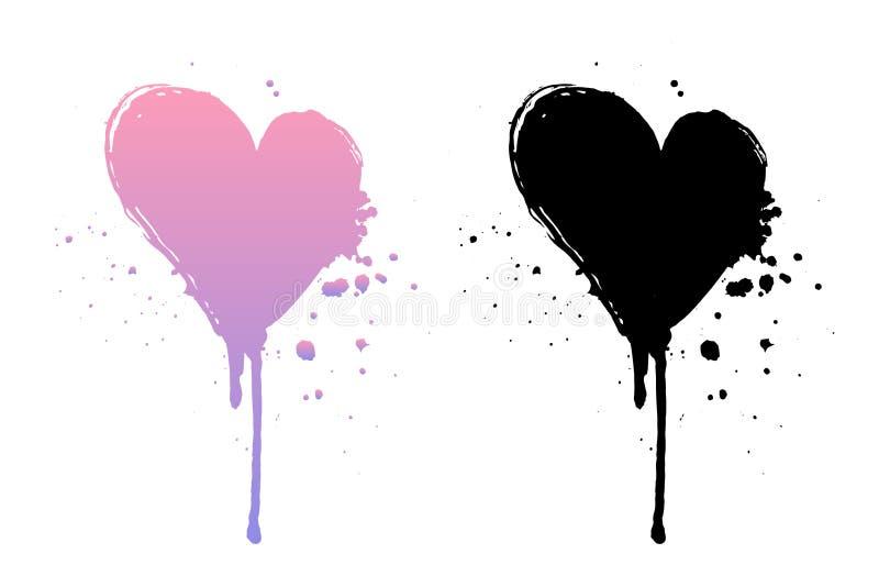 Druipende verf of zwarte en roze grungeharten Borstelslag op witte achtergrond wordt geïsoleerd die royalty-vrije illustratie
