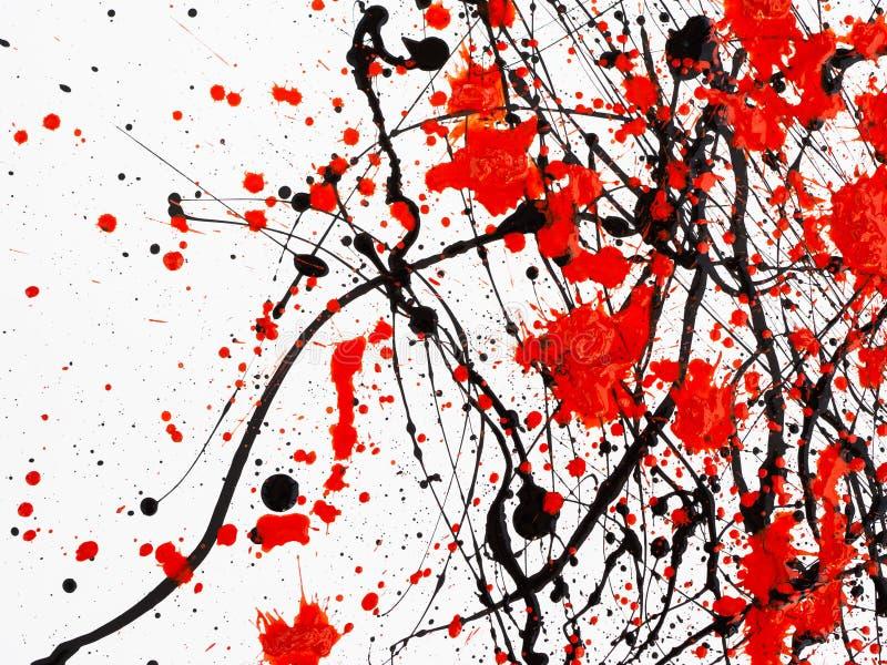 Druipende zwarte en rode die lijnverf op witte achtergrond wordt geïsoleerd Stromende stookolieplonsen, dalingen en sleep stock illustratie