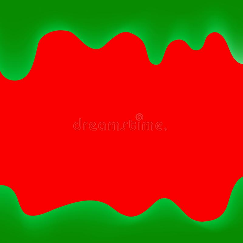 Druipt de banner druipende verf rood en groen voor kleurrijke achtergrond, waterverf grens, groen kader van druipende romige vloe stock illustratie