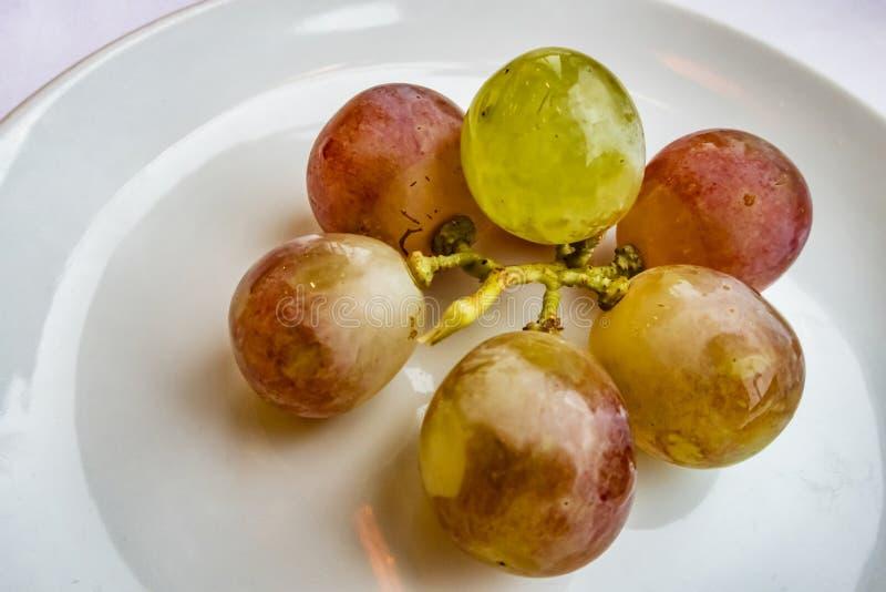 Druiven en gesneden mandarins in plaat royalty-vrije stock foto's