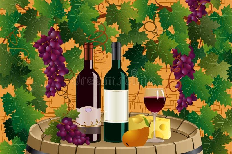 Druiven en wijn royalty-vrije illustratie
