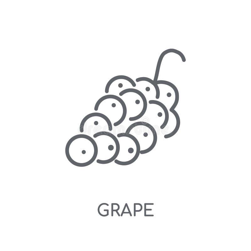 Druiven lineair pictogram Modern het embleemconcept van de overzichtsdruif op witte bedelaars royalty-vrije illustratie