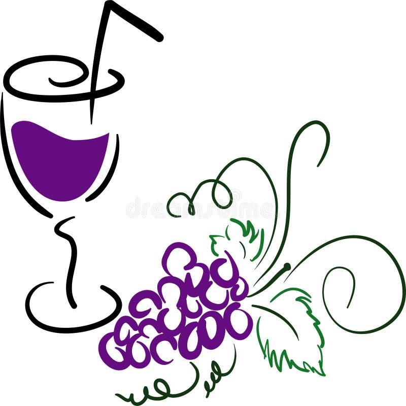 Druiven met een glas royalty-vrije illustratie