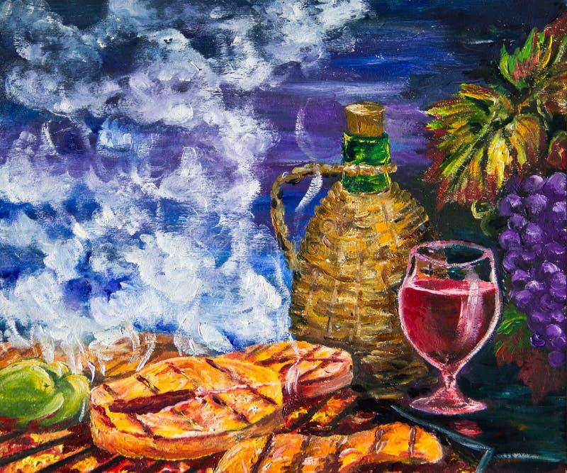 Druiven, rode wijn en geroosterde vissen vector illustratie
